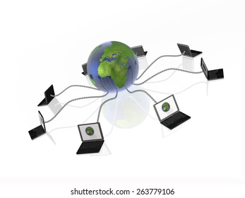 Network - notebooks and globe on white background.