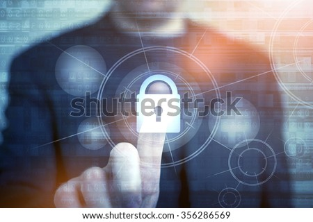 Network Safety Concept with Businessman Touching Closed Padlock as Symbol of Security. Internet Security Technologies. Password Access Protection.