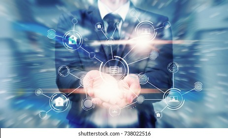 Network security computer, Network administrator protect the data base for secure network : Abstract technology background