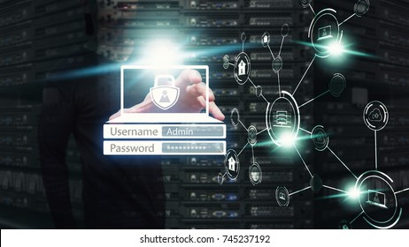 Network security computer, Network administrator protect the data base for secure network : data center theme