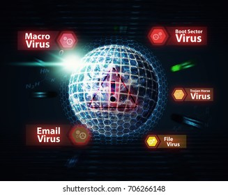 Network security computer concept the earth and shield activated for protection virus : Elements of this image furnished by NASA