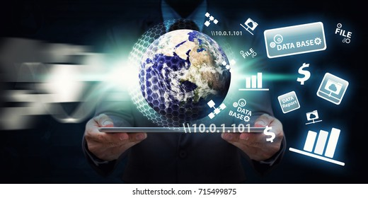 Network security computer concept programmer hold the earth and shield activated for protection : Elements of this image furnished by NASA