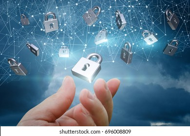 Network with security locks on a blue background.