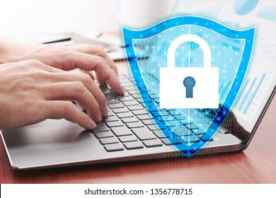 Network security system and internet data security concept.