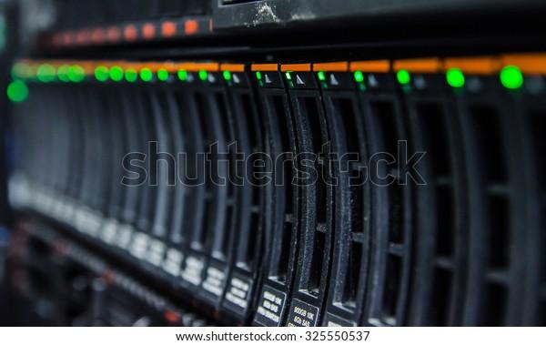 network server in datacenter shallow in dept of field