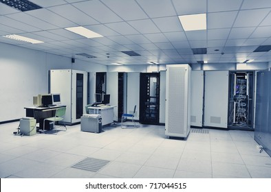 Network server room with computers for control digital cctv., communications, and internet