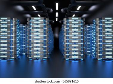 Network Server Room. Technology Concept / Background