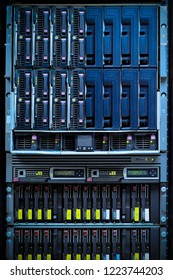 Network servers in a data center. Detail of hard disks