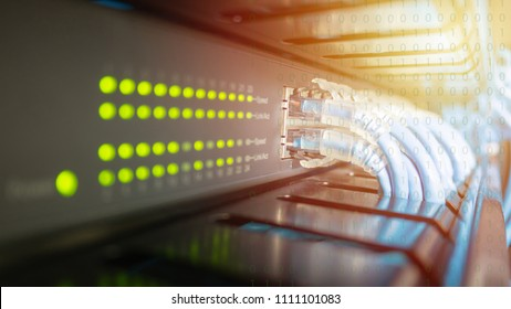 Network switch and ethernet cable connect to computer system