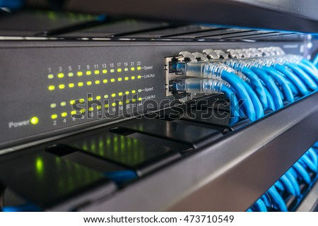Network Switch Ethernet Cables Rack Cabinet Stock Photo