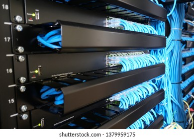 Network switch and ethernet lan cables connect to computer network  system