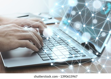 Network technology concept. Businessman using laptop for data analysis.Laptop and network structure.