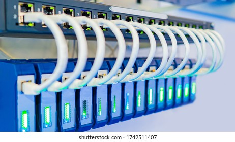 Network. Wires connect equipment. Network hardware. Work as a system administrator. Structured cabling systems. Network switch. Concept - Data Center. Concept - data storage and transmission.