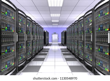 network workstation server room concept 3d illustration