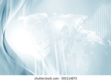 Network world map digital communication. Abstract information web concept background.