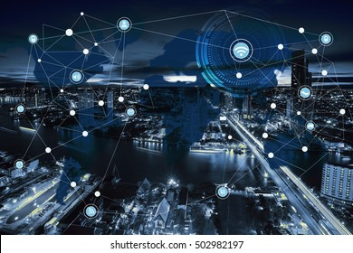 Network and world map on blur city,networking concept, abstract image visual, internet of things, city scape and network connection concept.