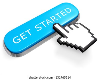 Networking concept. Blue GET STARTED button with hand cursor isolated on white. 3d illustration.