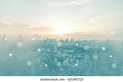 Networking connect technology abstract concept. Polygonal with connecting dots with blur city business background.