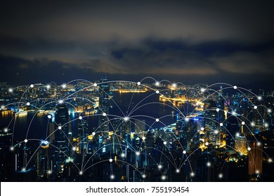 Networking connect technology abstract line connection on night city background