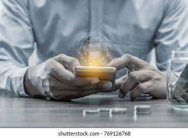 Networking people concept, Hand men with smartphone mobile and world virtual on blurred background