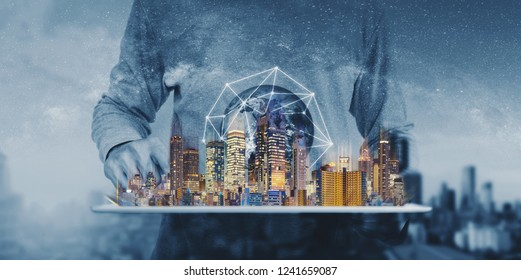 Networking technology, augmented reality and smart city and technology. Element of this image are furnished by NASA