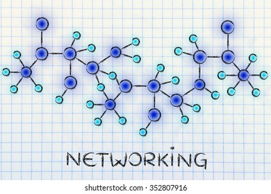 networking: technology and internet inspired abstract glowing network illustration