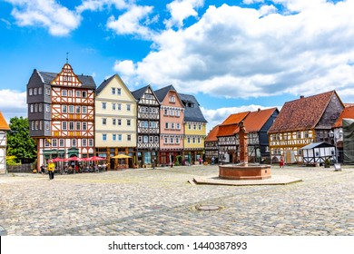 Neu Anspach, Germany - June 2, 2019: market place at Hessenpark in Neu Anspach. Since 1974, more than 100 endangered buildings have been re-erected at the Hessenpark Open-Air Museum.
