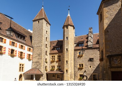 Neuchatel, Switzerland - Sep.04, 2018: Neuchatel castle, dated back to 12th century, is a Swiss heritage site of national significance - Image