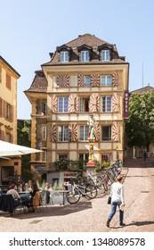 NEUCHATEL, SWITZERLAND - SEPT. 05, 2018:Ancient houses in the center of Neuchatel