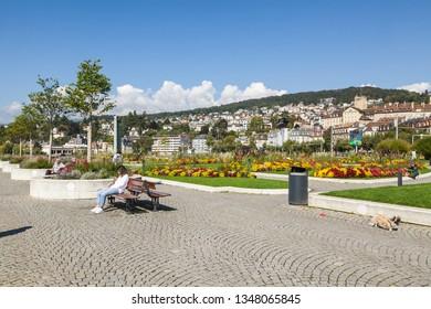 Neuchatel,Switzerland-05 SEPT.2018:View of Neuchatel from the embankment, Switzerland
