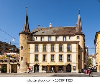 Neuchatel,Switzerland-Sept.05,2018:Beautiful architecture in Neuchatel,Switzerland