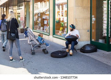 Neuchatel,Switzerland-Sept.05.2018:Performer in streets of Neuchatel.