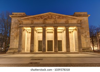 The Neue Wache in Berlin, the Central Memorial of the Federal Republic of Germany for the Victims of War and Dictatorship, at night