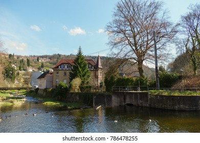 NEUENBUERG, GERMANY, April 30 - 2015: water reflection of colorful house in spring, Neuenbuerg Germany