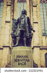 The Neues Bach Denkmal meaning new Bach monument stands since 1908 in front of the St Thomas Kirche church where Johann Sebastian Bach is buried in Leipzig Germany