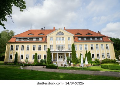 Neuhardenberg, Germany - May 29, 2019: Wulkow Castle in Neuhardenberg, Germany. It was during the time of the GDR a hospital, today it is used as a castle hotel