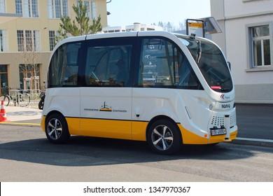 Neuhausen, Schaffhausen, Switzerland - 03/24/2019: autonomous and electric bus integrated in a public transportation network