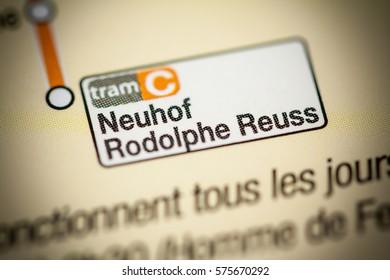 Neuhof Rodolphe Reuss Station. Strasbourg Metro map.