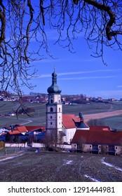 Neukirchen, Heiligen Blut in Bavaria, Germany. Church in winter.