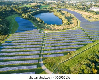 NEUKIRCHEN-VLUYN / GERMANY - OCTOBER 13 2015 - Aerial view of the Enni Photovoltaic power plant
