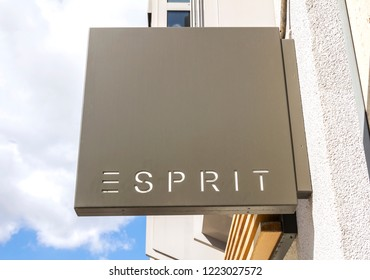 Neumarkt in der Oberpfalz, GERMANY SEP 8,2018:Esprit logo on a store front. Esprit is a manufacturer of clothing, footwear, accessories, jewellery and housewares under the Esprit label.