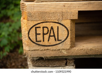 Neuoetting,Germany-June 09,2018: Close up view of  the Europallet logo on a Europallet