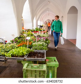 Neuoetting,Germany-May 3,2017: A woman loos at the flower for sale in the weekly farmers market