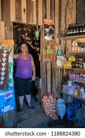 Neuquen, Argentina - January 13 2014: A woman Mapuche selling in her store in the middle of the Andes mountains, near to Lanin National Park in Southern Argentina. The tribe is known as Mapuche.