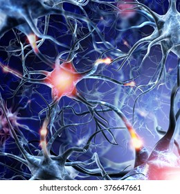 Neural network on a blue background with light effects. Active neurons brain connections nervous system. A high resolution.