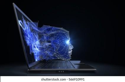 Neuron network concept. 3D illustration
