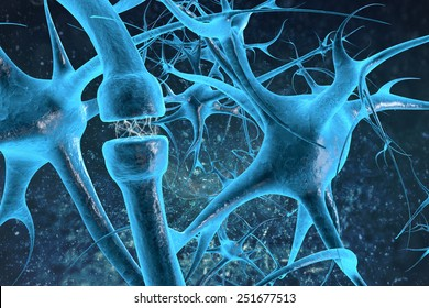 Neurons and synapse sending biological electrical and chemical signaling to human receptor cells as a neurotransmission for the brain and nervous system.