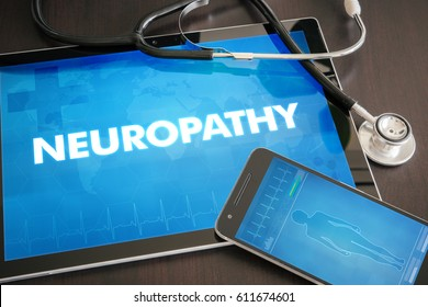Neuropathy (neurological disorder) diagnosis medical concept on tablet screen with stethoscope.
