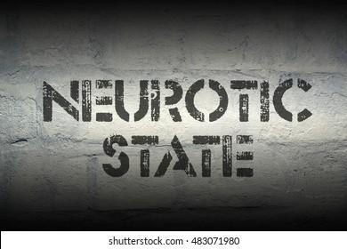 neurotic state stencil print on the grunge white brick wall