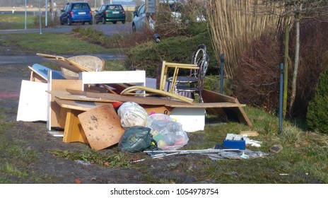 Neuschoo, Germany - February 16, 2018: bulky waste on the street is waiting for garbage collection. Waste collection. Bulky trash, a pile of mixed garbage. Recycling industry